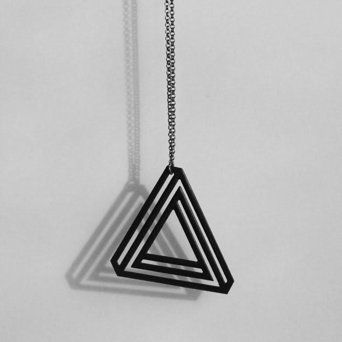 Aroha Silhouettes Black Triangle Bermuda Necklace Powder Coated