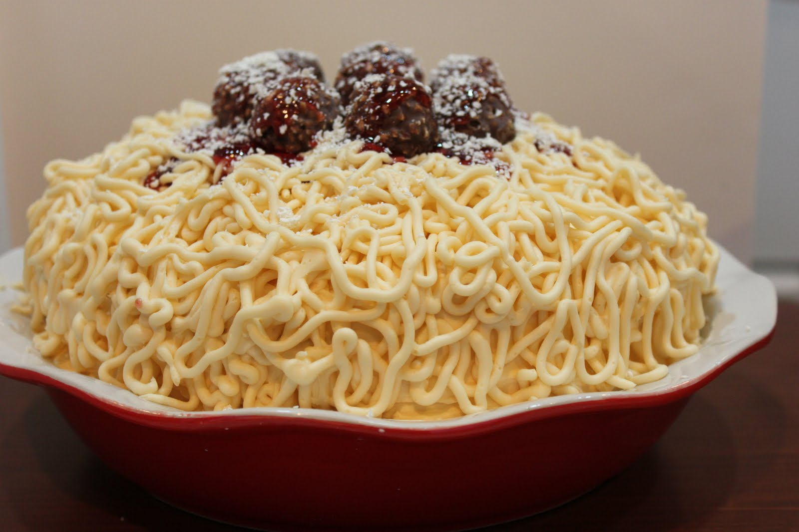 Spaghetti and Meatballs Cake   Created by Diane