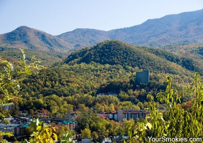 picture of the city of Gatlinburg taken on Gatlinburg Bypass