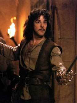 In this scene in The Princess Bride, the legendary phrase is uttered My name is Inigo Montoya.  You killed my father.  Prepare to die.