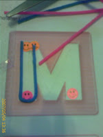 letter M in wikki stix outline