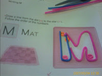 M completely outlined with Wikki Stix