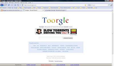 image de la page d accueil du moteur de recherches de torrent toorgle