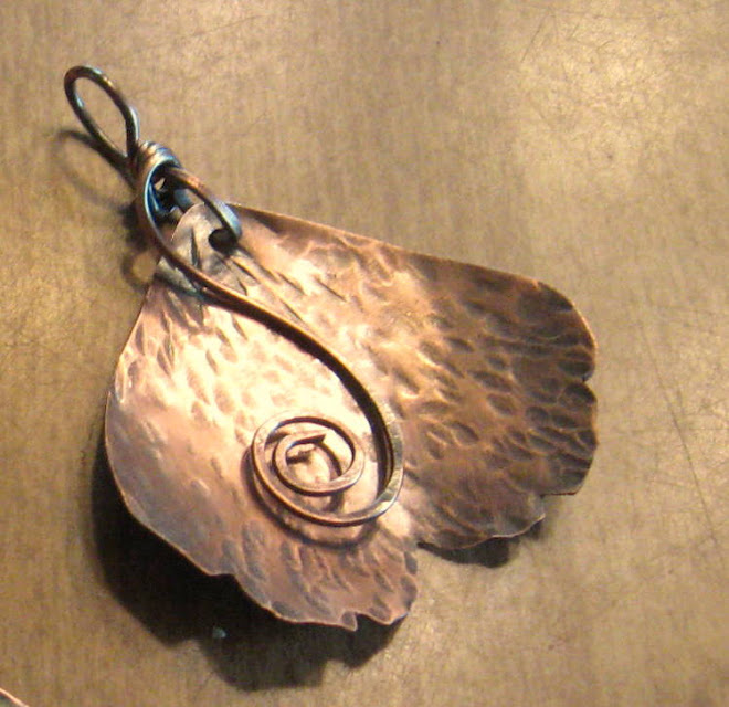 Copper and wire spiral Ginkgo leaf pendant