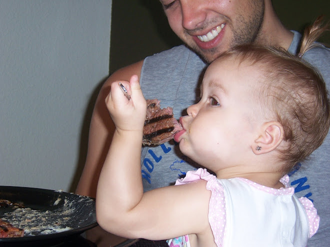Maddy tookk daddys steak and ate it!! Yummy