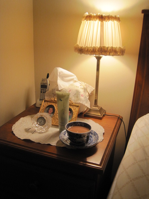 Nightstand, Spode Blue Italian, Tea, Vignette, nightstand styling, home, bedroom,