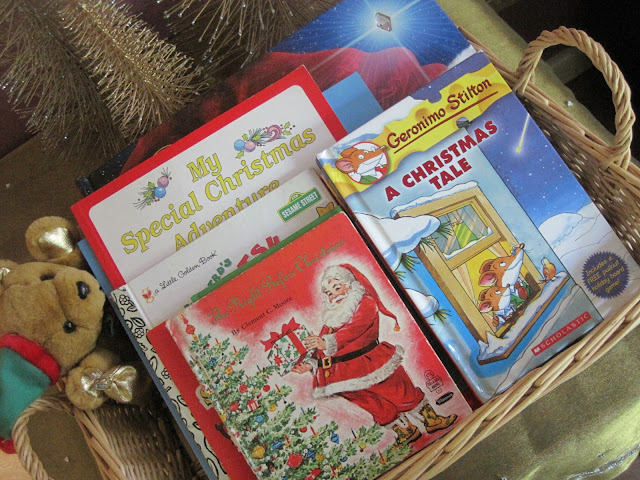 Natasha in Oz, Home Tour, Christmas decorating, Christmas, basket of Christmas books