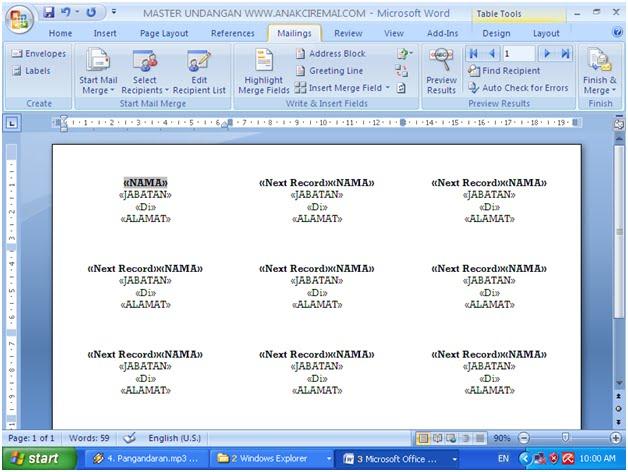17. Klik Menu Maillings untuk menampilkan toolbar Mail Merge
