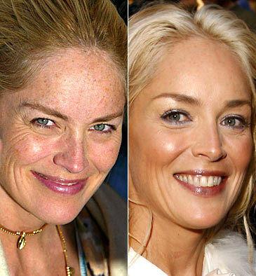 actriz con y sin maquillaje