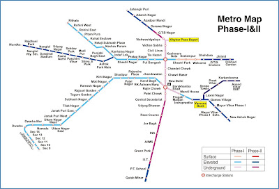 Delhi metro phase 1 and 2 map image