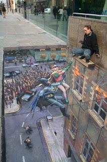 Desenho Batman e Robin - Desenhos tridimensionais na calçada - Giz - Julian Beever
