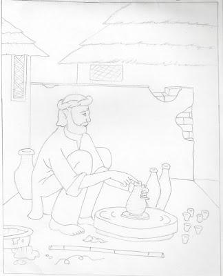 Potter making pots