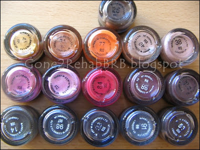 Barry M Dazzle dust pictures and swatches of 25 Rust, 38 Beige, 49 Fawn, 41 Marigold, 74 Purple,  77 Orange, 14 Khaki, 98 Petrol Black, 23 Midnight, 91 Silvery Black, 53 Chocolate, 7 Scarlet, pink glitter dust, 84 Cherry Red, 88 Winter Berry, 55 Fig