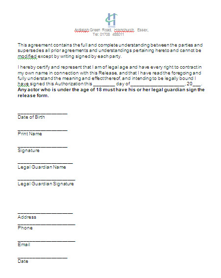 A Media Studies Advanced Portfolio G Actor Release Form