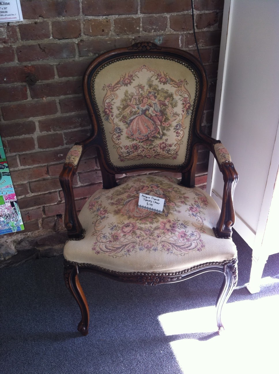 Antique School Bench and French Tapestry Chair - Tiny's Lambertville: Antique School Bench And French Tapestry Chair
