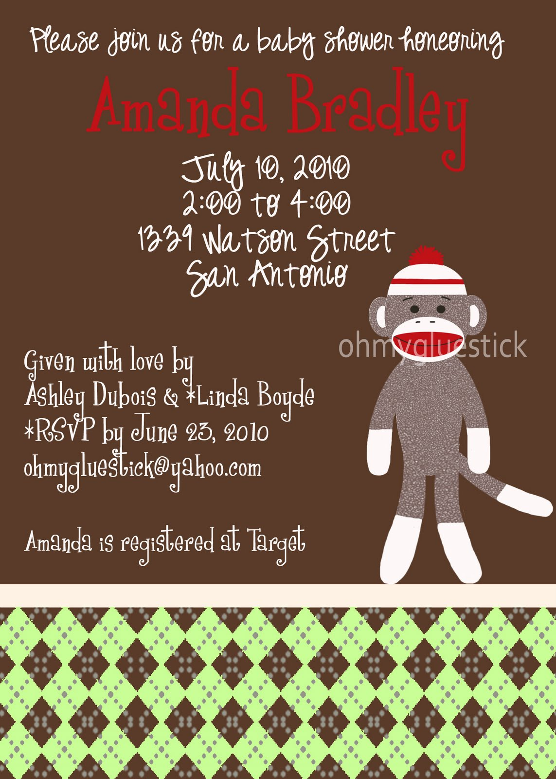 The Printable Party Shop by OMG: A Sock Monkey Shower Invitation for ...