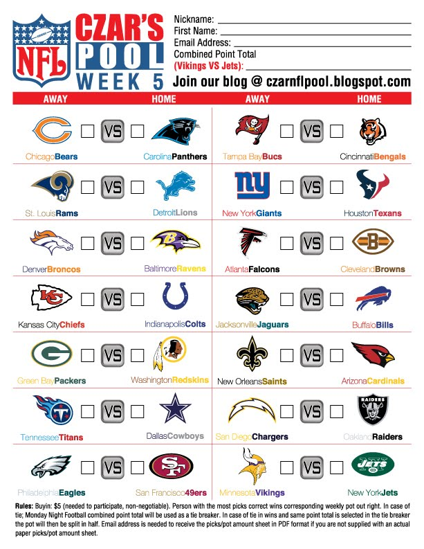 Czar's NFL Pool: Week 5 Pool Sheet