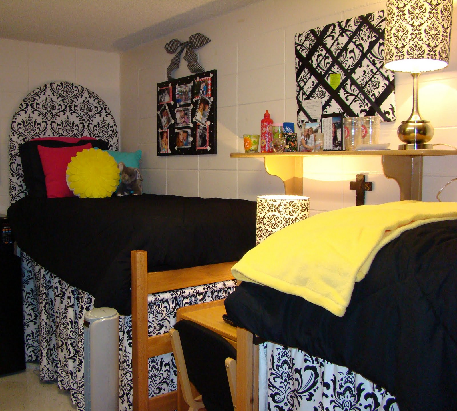 Doodlebug designs mg dorm room upholstered headboard for Cute dorm bathroom ideas