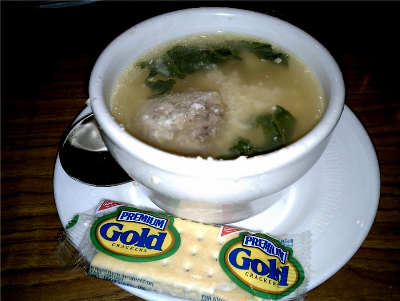 Studded With A Lone Meatball Chunks Of Cooked Chicken Micro Orbs Egg And Long Ribbons Greens The Soup Was Pretty Good I Tried Broth First On