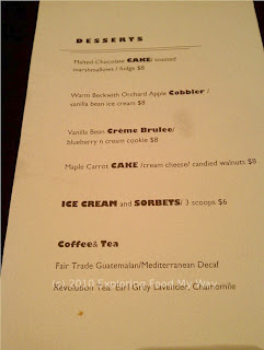 One Red Door's Dessert Menu