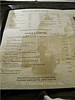 Dontino's Dinner Menu Page 2