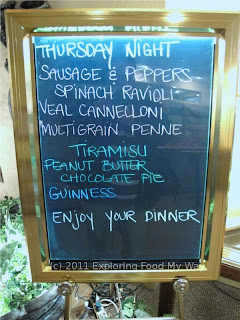 Dontino's Specials Menu for Thursday Night