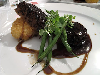 Spicy Espresso Rubbed Veal Steak with Jalapeño Risotto Croquettes and Haricot Verts