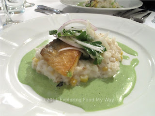 Brown Butter Poached Arctic Char with Smoked Corn and Truffle Risotto