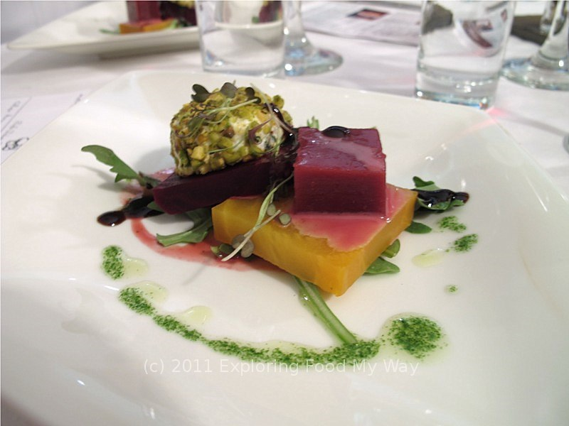 Roasted Beet Salad with Blue/Goat Cheese Crotin and Blood Orange Gelee