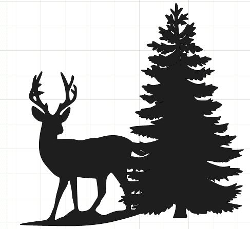Happy2bscrappin Amp Reviewing Deer Silhouette With Tree
