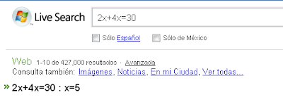 resolver ecuaciones con Live Search