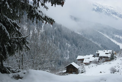 Our chalet nestled on the snowy slopes