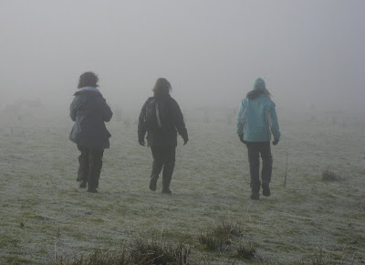 Three figures walking away into the mist on frosty ground
