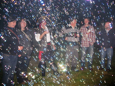 Group of people surrounded by bubbles