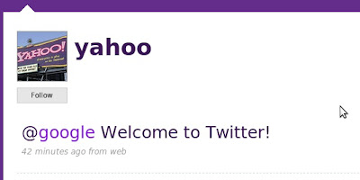 Yahoo welcomes Google on Twitter