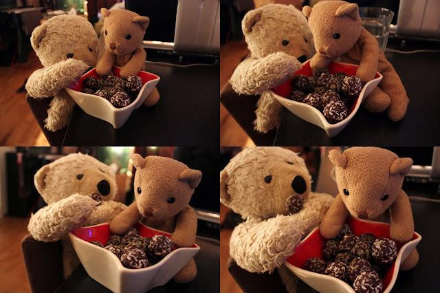 Oppskrift Momsekuler Nøttekuler Sjokoladekuler Sunt godteri Hampfrø Kokos Sjokolade Nøtter Dadler Blund Bear