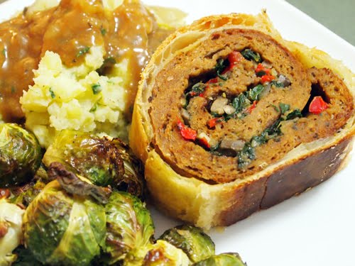 Seitan and Vegetable Roulade (Recipe and photo fromVeganappetite.com)