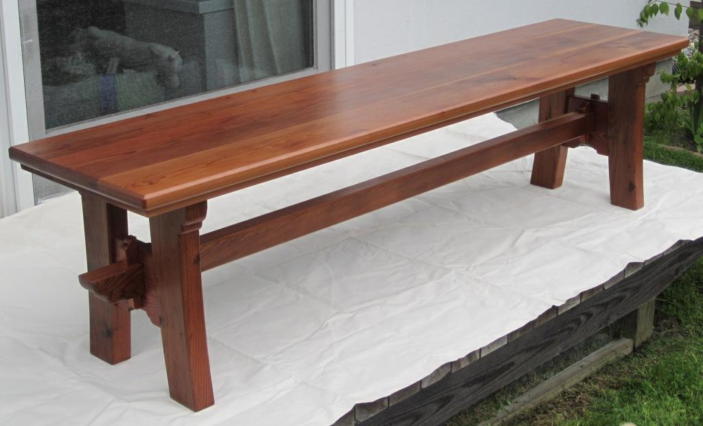 Recycled redwood bench