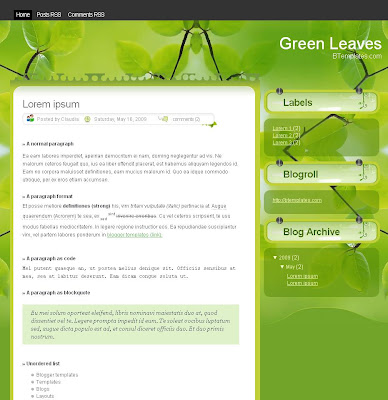 Green Leaves Blogger Theme