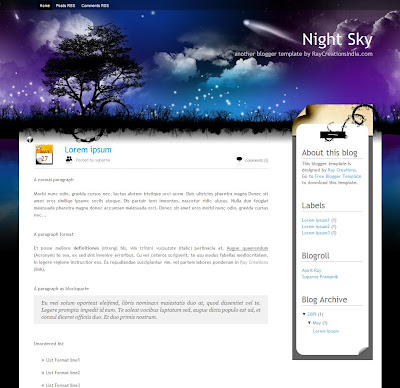 Night Sky Blogger Theme
