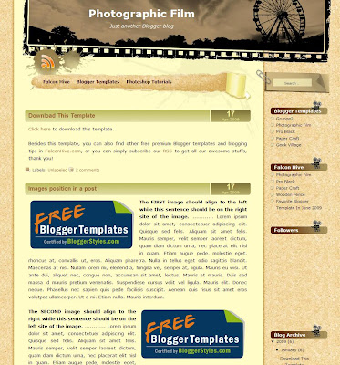 Photographic Film Blogger Template
