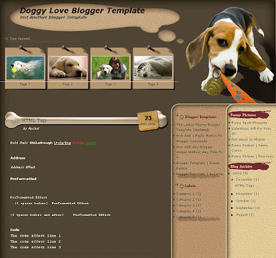 Doggy Love Blogspot Theme
