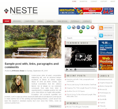 neste 3 column free blog template