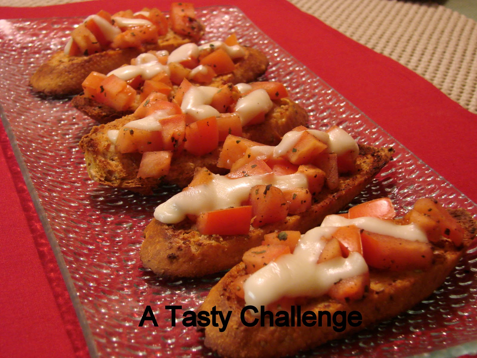 Tasty Challenge.....: Roasted Garlic Tomato Bruschetta