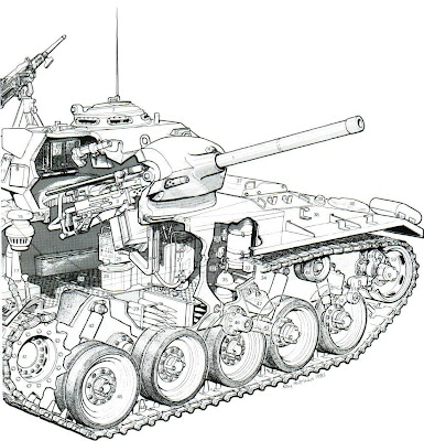 military picture: Light Tank M24 Chaffee cutaway drawing