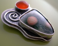 pendant in progress by metalsmith janice fowler, strling, ocean jasper, carnelian