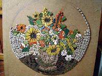 Virágcsendélet mozaik