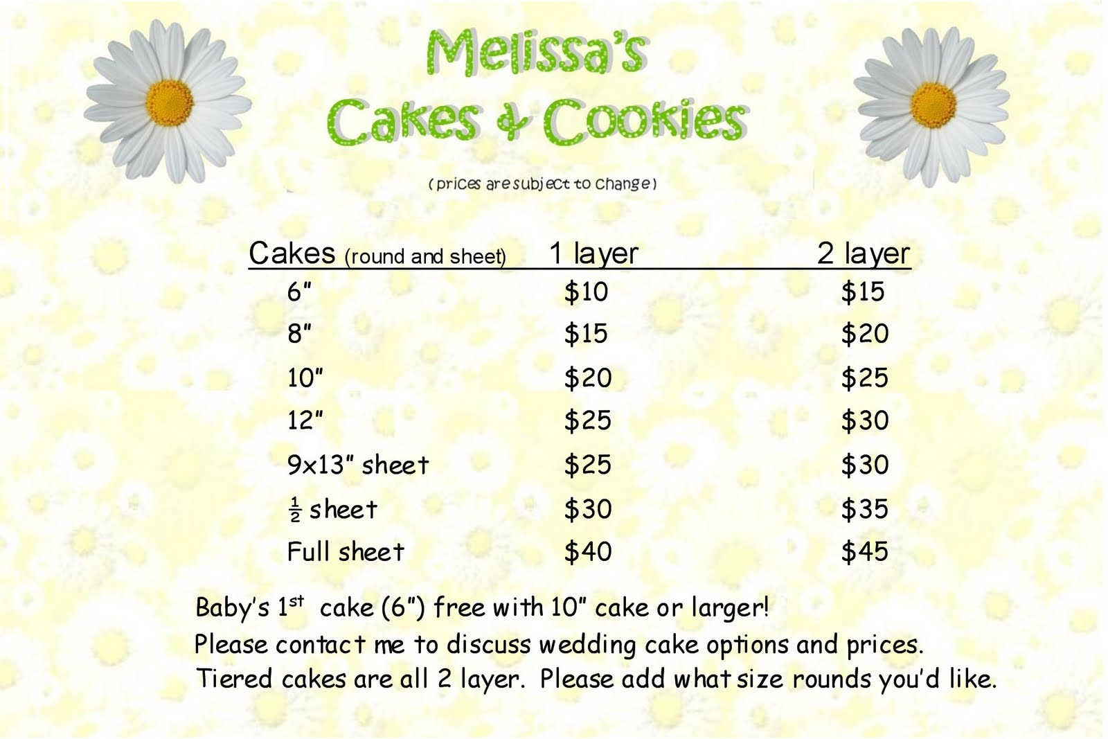 melissa 39 s cakes cookies menu and prices