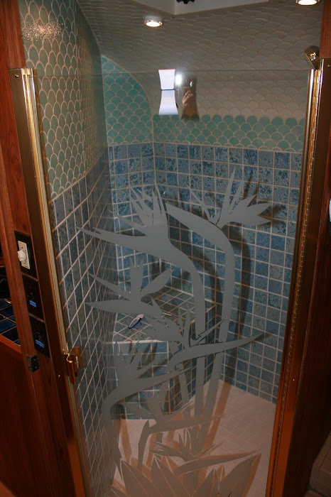 Tiled shower with custom door