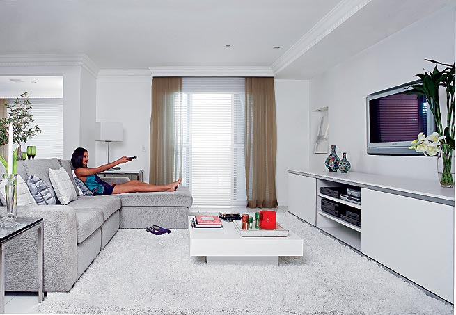 decoracao branca sala:Home Theater Sala Com